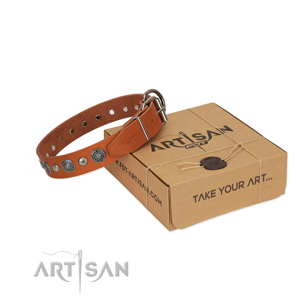 Natural leather collar with strong D-ring for your attractive dog