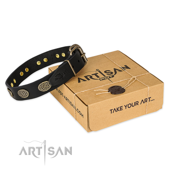 Corrosion resistant traditional buckle on full grain natural leather collar for your handsome pet