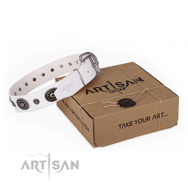 Gentle to touch full grain natural leather dog collar made for everyday use
