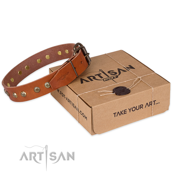 Strong D-ring on full grain leather collar for your beautiful doggie