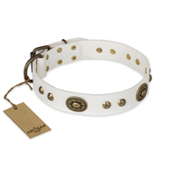 """Adorable Dream"" FDT Artisan White Leather American Bulldog Collar"