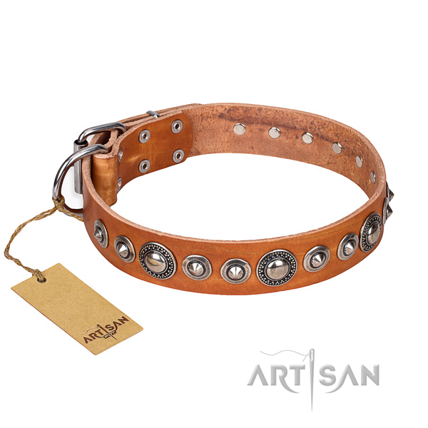 Full grain genuine leather dog collar made of gentle to touch material with corrosion proof D-ring