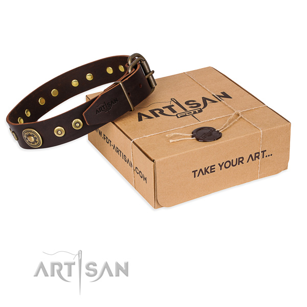 Full grain natural leather dog collar made of top notch material with corrosion resistant traditional buckle