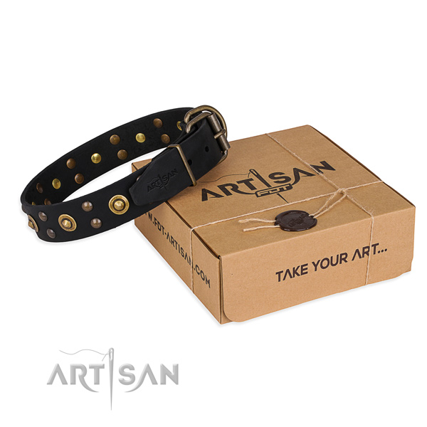 Reliable traditional buckle on genuine leather collar for your lovely dog