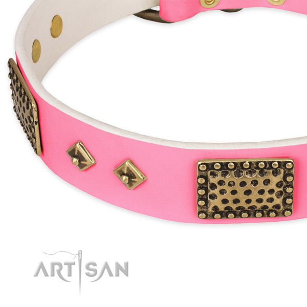 Full grain leather dog collar with decorations for comfy wearing