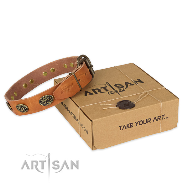 Rust resistant hardware on full grain natural leather collar for your stylish doggie