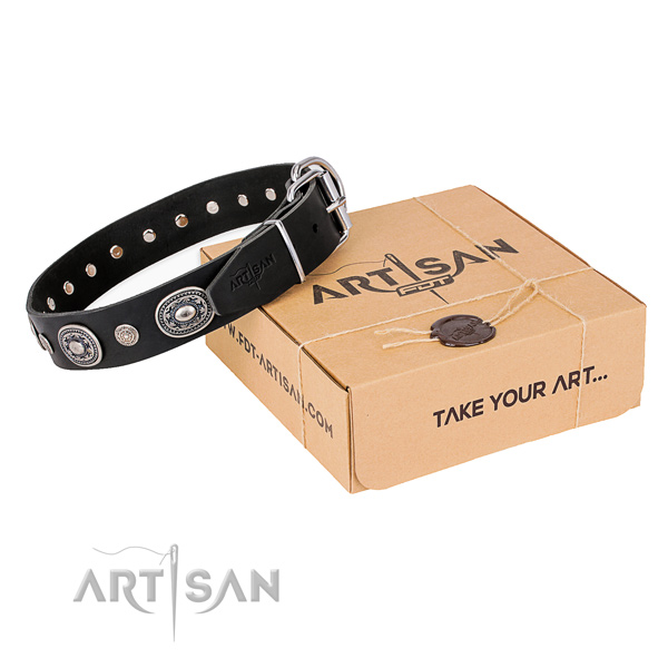 Durable full grain genuine leather dog collar crafted for stylish walking