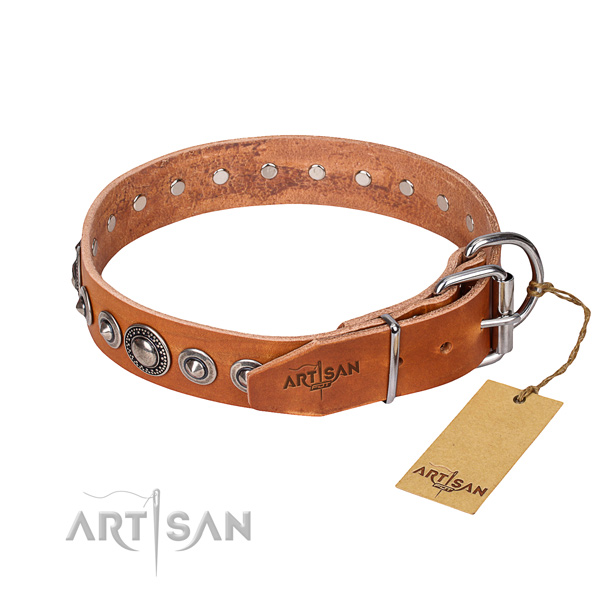 Natural genuine leather dog collar made of top rate material with durable embellishments