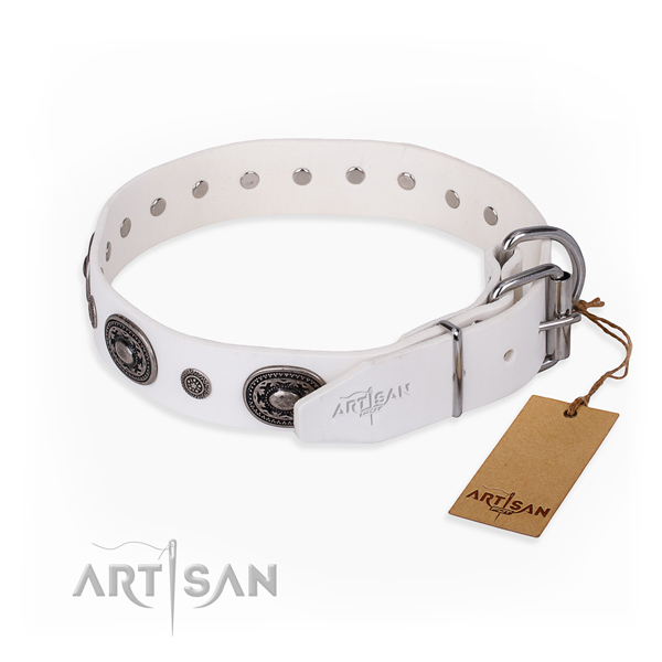 Soft to touch leather dog collar created for comfortable wearing