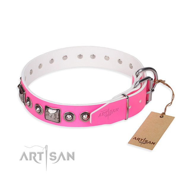 Quality genuine leather dog collar crafted for comfortable wearing