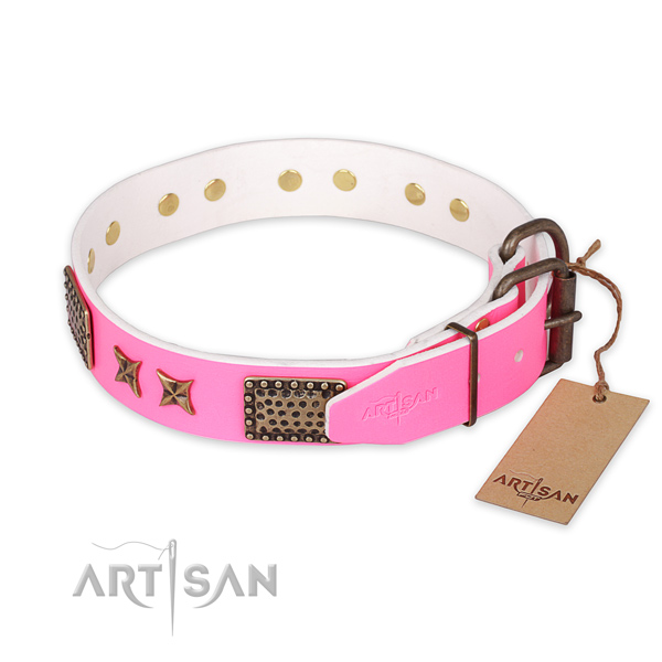Durable D-ring on leather collar for your handsome four-legged friend