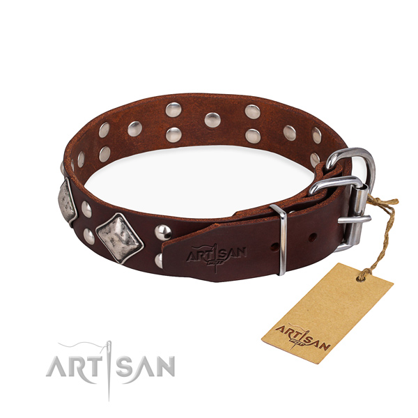 Genuine leather dog collar with inimitable rust resistant adornments