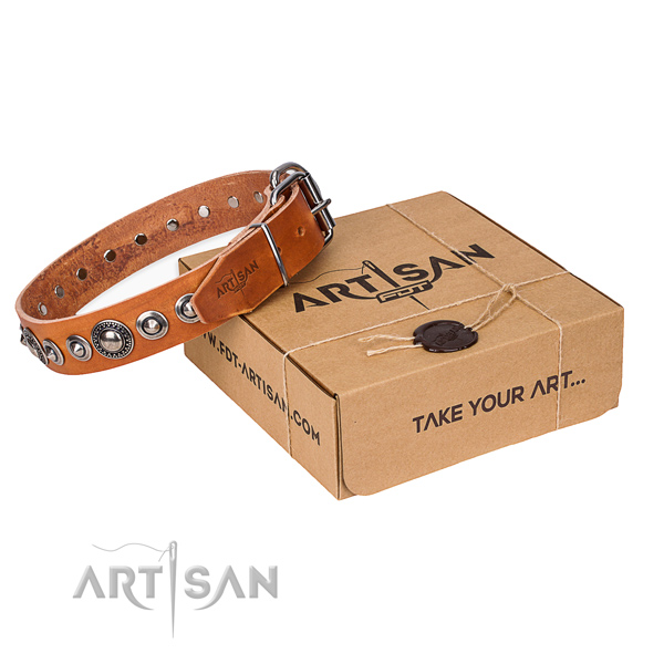 Genuine leather dog collar made of gentle to touch material with corrosion resistant fittings