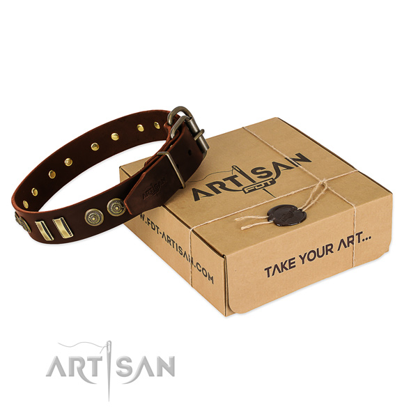 Rust resistant D-ring on natural leather dog collar for your four-legged friend
