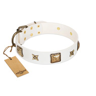 """Dog in White"" FDT Artisan White Leather American Bulldog Collar Adorned with Stars and Squares"