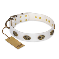 """Lovely Lace"" FDT Artisan White Leather American Bulldog Collar with Old Bronze Look Ovals"