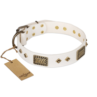 """Snow-covered Gold"" FDT Artisan White Leather American Bulldog Collar"