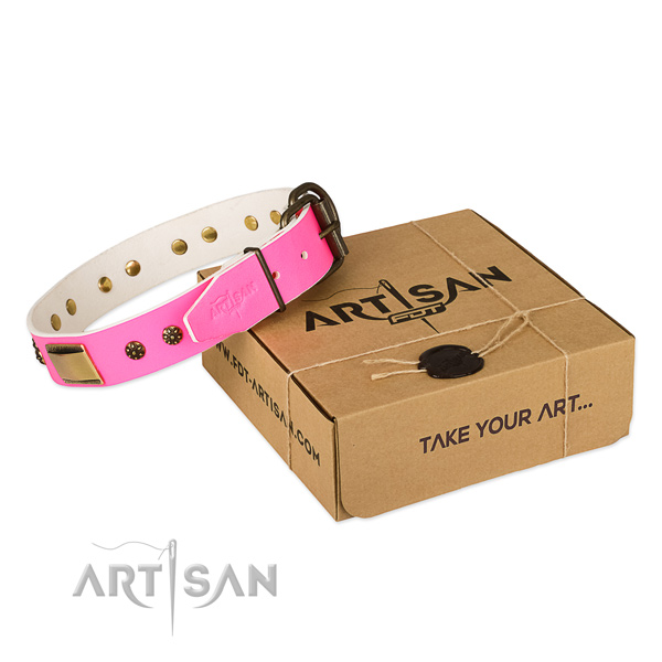 Impressive full grain natural leather collar for your stylish pet