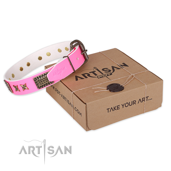 Corrosion resistant D-ring on full grain leather collar for your stylish doggie