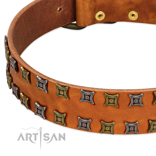 Soft to touch genuine leather dog collar for your handsome dog