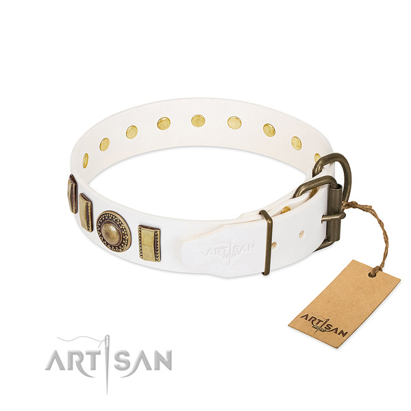 Adjustable genuine leather dog collar with reliable hardware