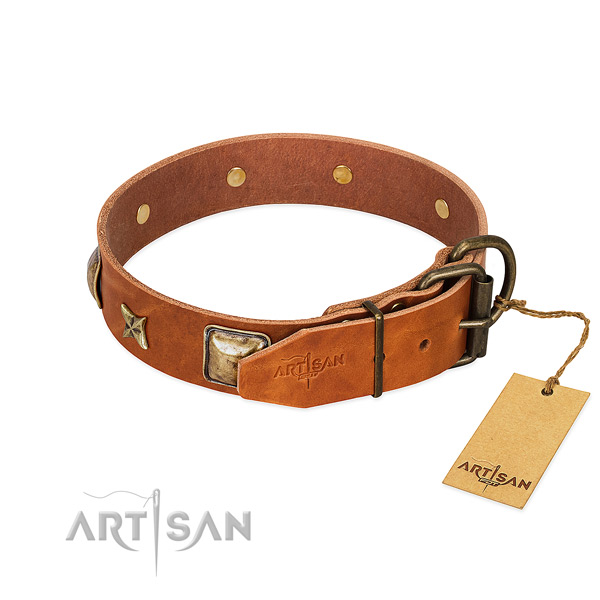 Full grain genuine leather dog collar with rust-proof hardware and studs
