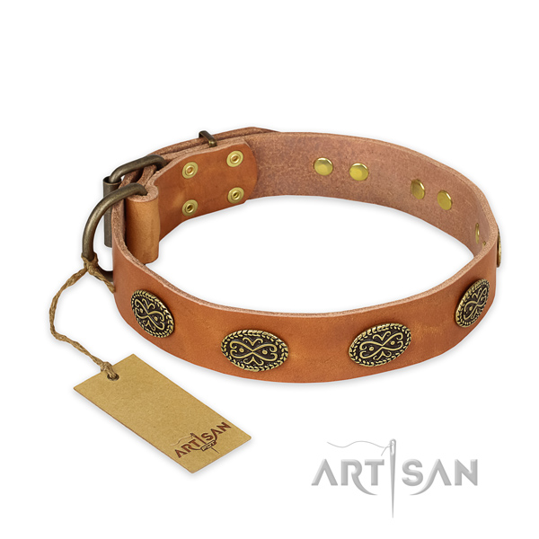 Adorned genuine leather dog collar with rust-proof fittings
