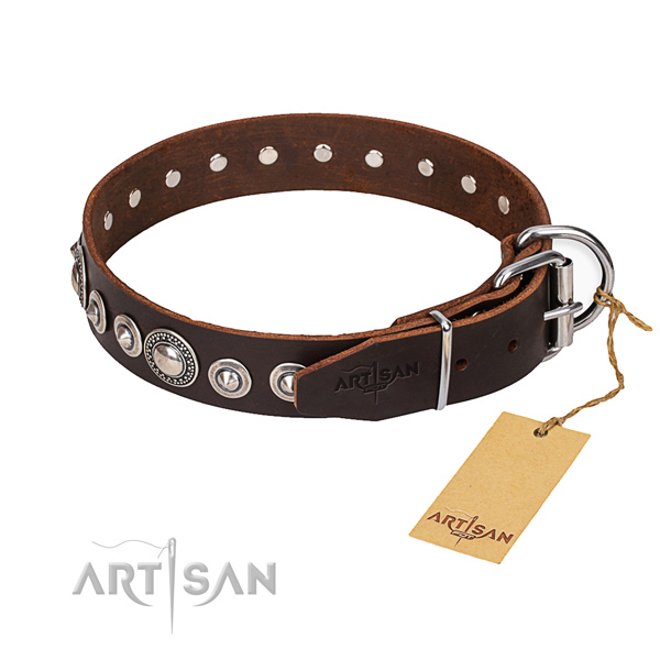 Leather dog collar made of gentle to touch material with corrosion resistant hardware