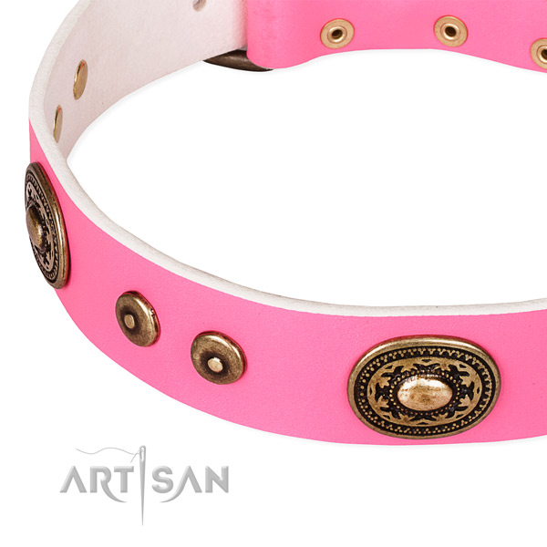Full grain genuine leather dog collar made of soft to touch material with decorations