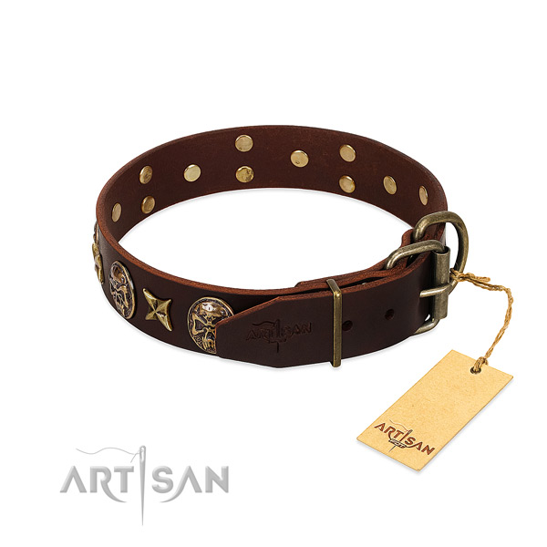 Durable D-ring on full grain genuine leather dog collar for your four-legged friend