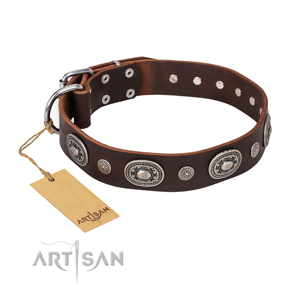Gentle to touch leather collar crafted for your dog