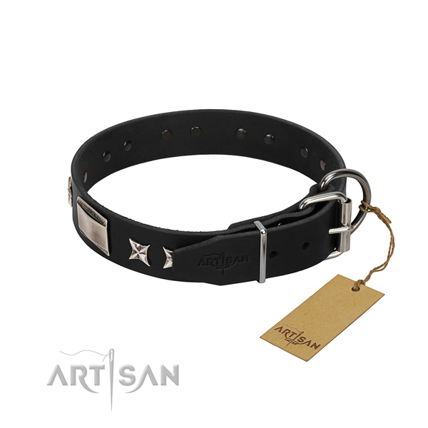 Soft leather dog collar with corrosion resistant traditional buckle