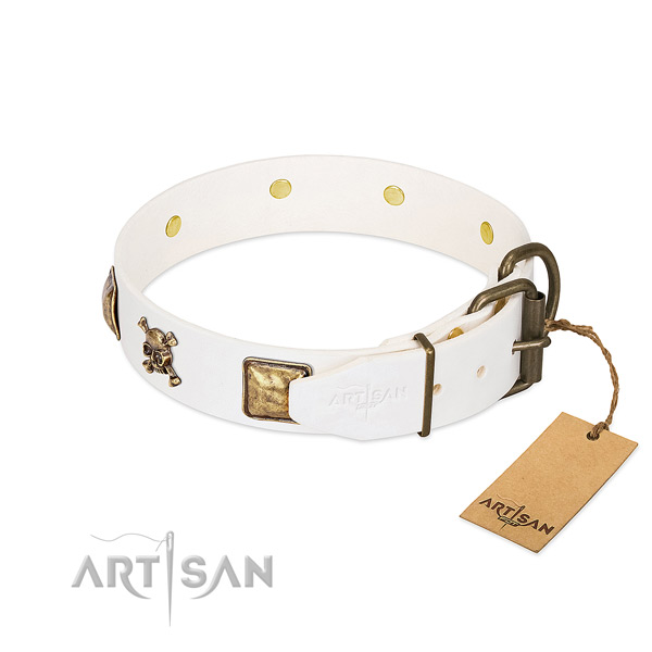 Exquisite full grain leather dog collar with durable decorations