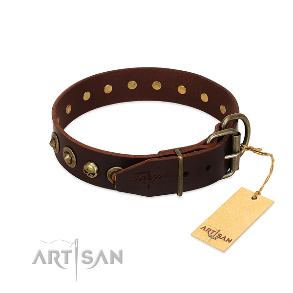 Full grain leather collar with exceptional decorations for your doggie