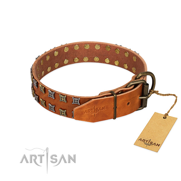 Quality full grain genuine leather dog collar created for your dog