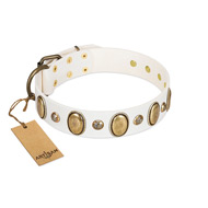 """Milky Lagoon"" FDT Artisan White Leather American Bulldog Collar with Vintage Looking Oval and Round Adornments"