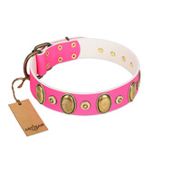 """Drawing Power"" FDT Artisan Pink Leather American Bulldog Collar with Engraved Ovals and Dotted Studs"