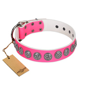 """Pink Garden"" Designer FDT Artisan Pink Leather American Bulldog Collar for Stylish Look"