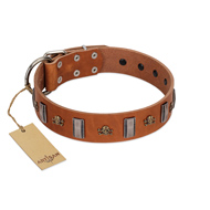"""Golden Crossbones"" Handmade FDT Artisan Tan Leather American Bulldog Collar with Plates and Skulls"