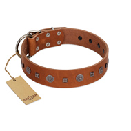 """Sweet Caramel"" Designer FDT Artisan Tan Leather American Bulldog Collar"