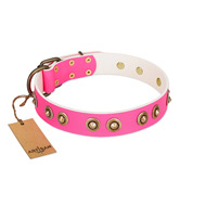 """Bright Delight"" Pink FDT Artisan Leather American Bulldog Collar with Large Old Bronze-like Plated Studs"