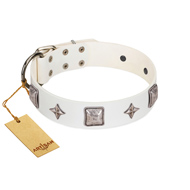 """Vanilla Ice"" FDT Artisan Handmade White Leather American Bulldog Collar with Silver-like Adornments"