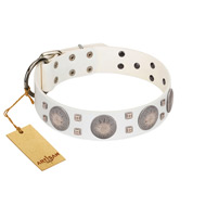 """Mighty Shields"" FDT Artisan White Leather American Bulldog Collar with Chrome Plated Shields and Square Studs"