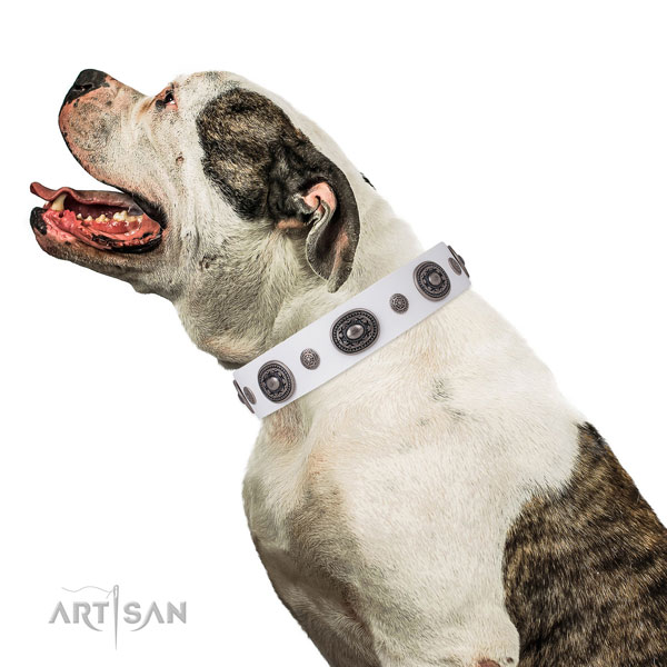 Genuine leather dog collar with corrosion resistant buckle and D-ring for comfy wearing
