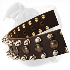 Handcrafted Leather Collar With Extravagant Spike Decor