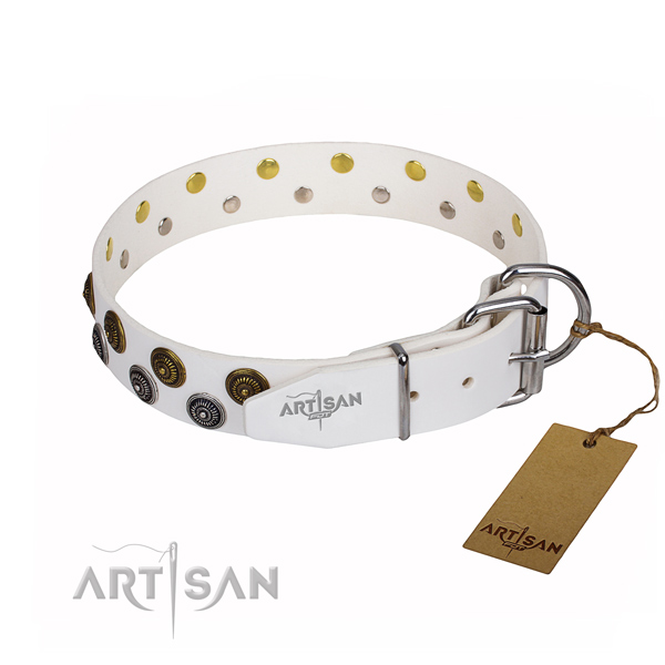 Everyday walking genuine leather collar with decorations for your pet