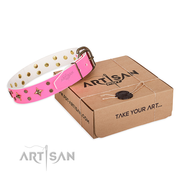 Adorned full grain natural leather dog collar for easy wearing