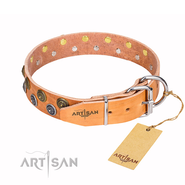 Handy use natural genuine leather collar with studs for your pet