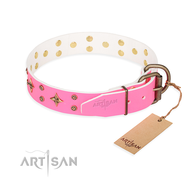 Daily use natural genuine leather collar with adornments for your four-legged friend