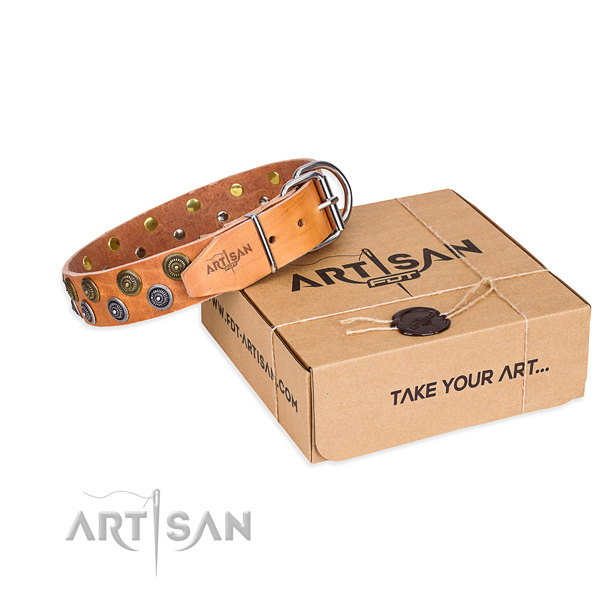 Full grain genuine leather dog collar with decorations for stylish walking